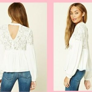 Forever21 Women Ivory Top Lace Blouse Size S